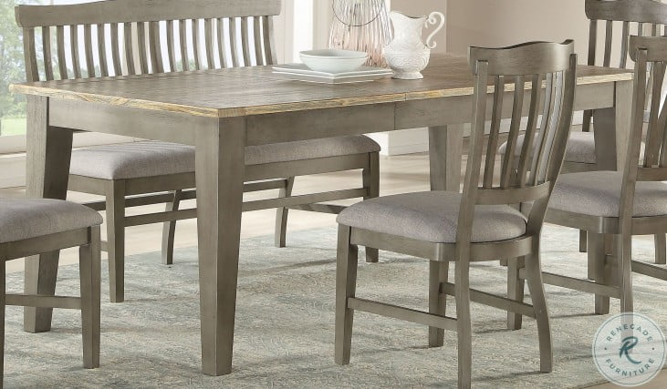 Pine Crest Distressed Pine and Burnished Gray Extendable Leg Dining Table from ECI Furniture | Coleman Furniture