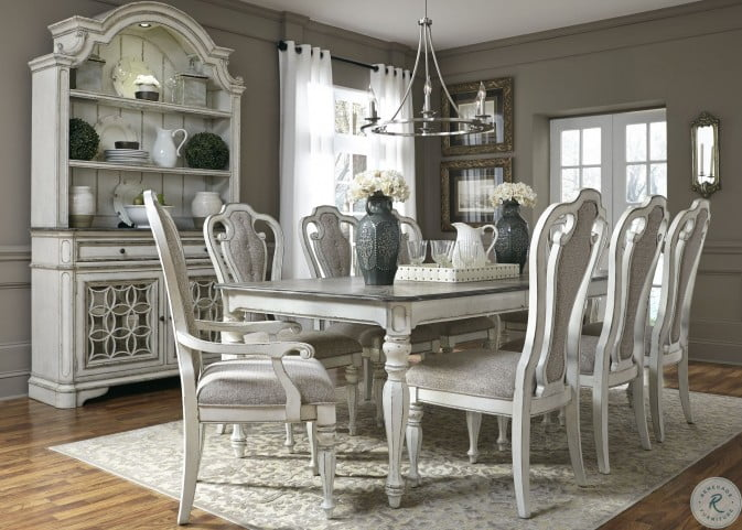 Magnolia Manor Antique White 108, White Dining Room Table And Hutch