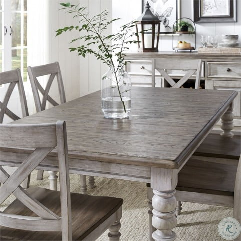 Cottage Lane Antique White And, Weathered Gray Dining Room Table