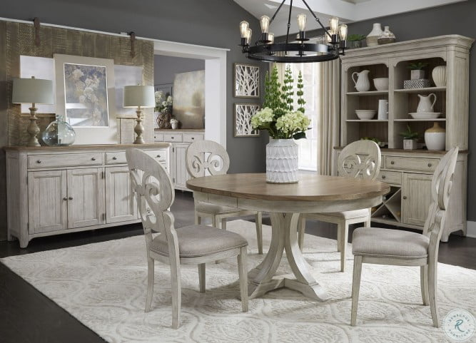 Farmhouse Reimagined Antique White, White Dining Room Table And Hutch