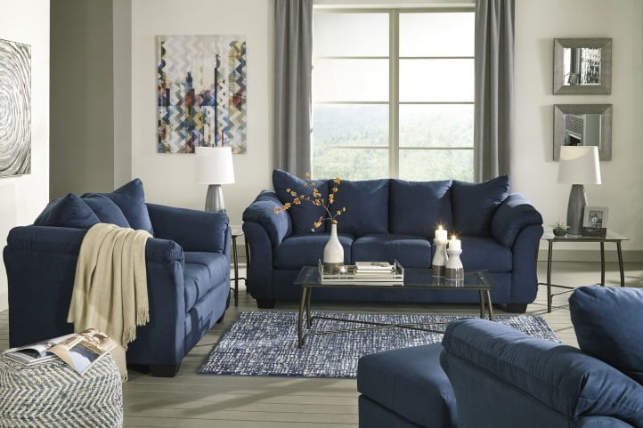 Darcy Blue Living Room Set From Ashley, Blue Living Room Furniture