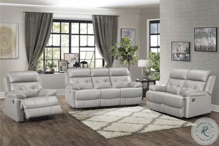 Gray Double Reclining Living Room Set, Gray Living Room Sets