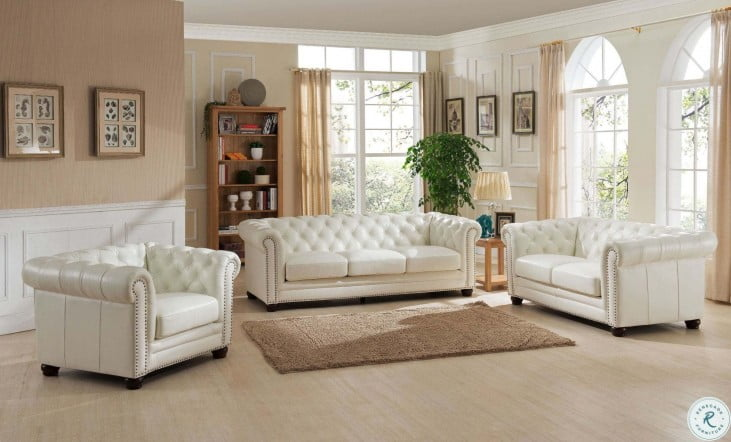 Monaco Pearl White Leather Sofa From, White Leather Living Room Set