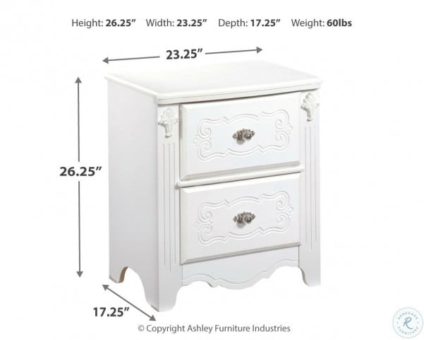 Exquisite Two Drawer Night Stand From, Ashley Furniture Harmony Nightstand