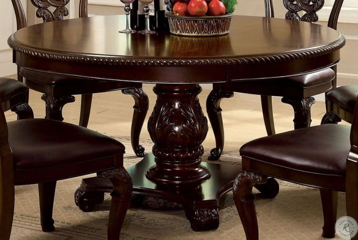 Bellagio Brown Cherry Round Pedestal, Pedestal Dining Room Tables And Chairs