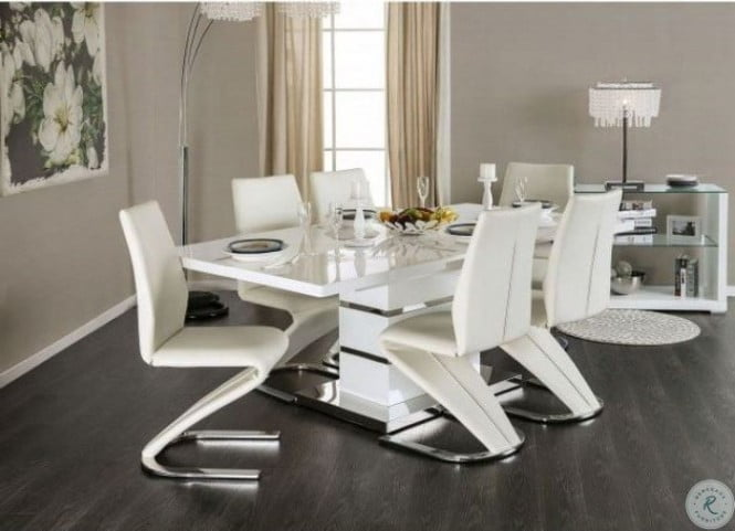 Midvale White And Chrome Extendable, Fancy Dining Room Sets