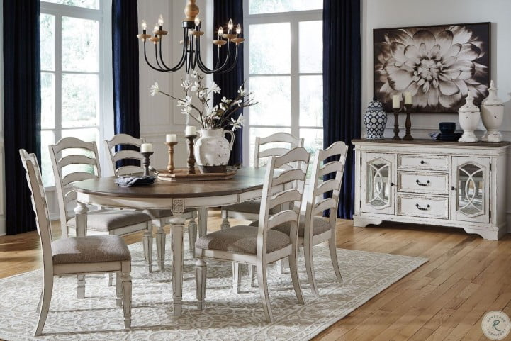 Realyn White Oval Extendable Dining, Oval Dining Room Set