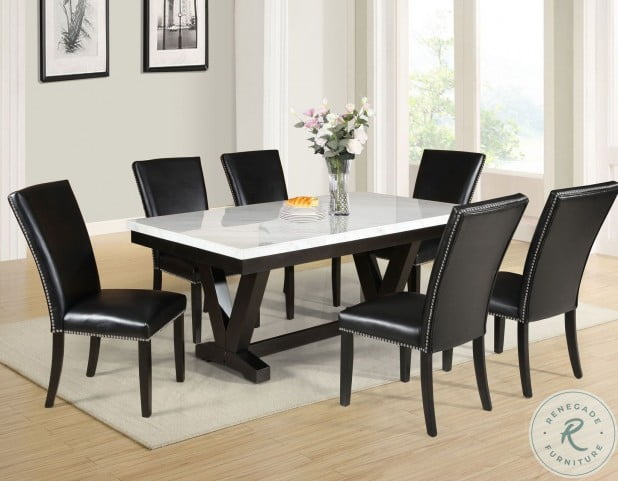 Finley White Marble Top Dining Room Set, White Marble Top Dining Room Table