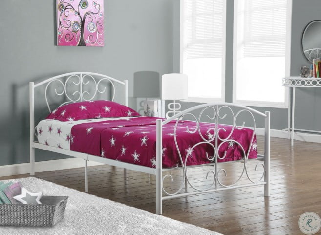 White Metal Twin Size Bed Frame From, How Many Inches Is A Twin Size Bed Frame