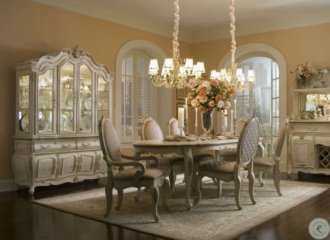 Lavelle Blanc Oval Dining Room Set From, Aico Dining Room Chairs