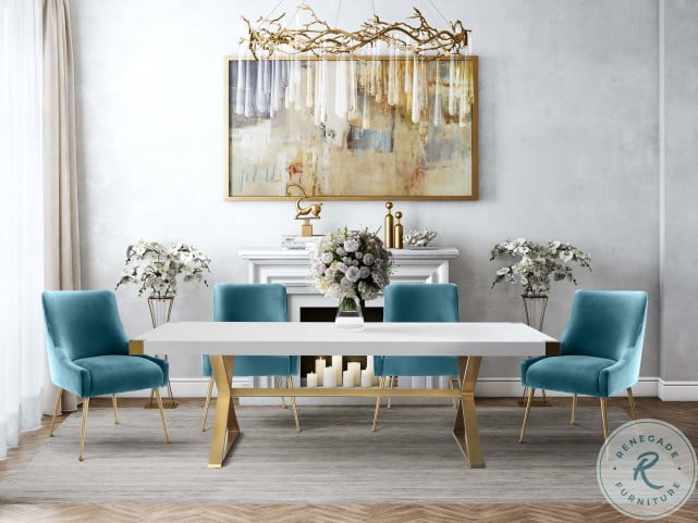 Adeline White And Gold Dining Table, Gold Dining Room Sets