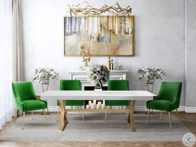 Adeline White And Gold Rectangular, White And Gold Dining Room Set