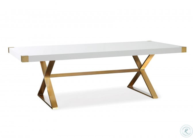 Adeline White And Gold Dining Table, White And Gold Dining Room Set