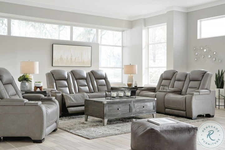 The Man Den Gray Leather Power, Grey Living Room Sets